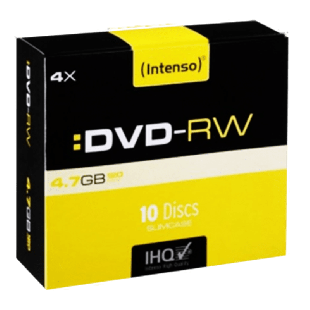 Intenso DVD-RW, Re-Writable, 4.7GB 120-Minutes, 4X Speed, Single Layer, Slim Case of 10