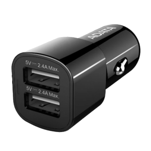 ADATA (CV0172) 17W Dual USB Compact Car Adapter, 2 x USB-A Ports, 2.4A, 12V/24V Devices