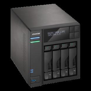 ASUSTOR AS6204T 4-Bay NAS Enclosure (No Drives), Quad Core CPU, 4GB DDR3L, HDMI, USB3, LCD Screen, Dual GB LAN
