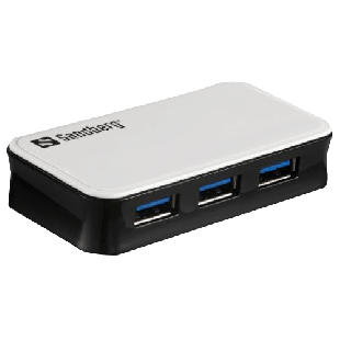 Sandberg External 4-Port USB 3.0 Hub, Overload Protection, Mains/USB Powered - White and Black