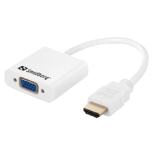 Sandberg HDMI Male to VGA Female Converter Cable with Audio Port (3.5mm) and Optional USB Power - White