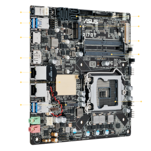 Asus Q170T/CSM - Corporate Stable Model, Intel Q170, 1151, Thin Mini ITX, DDR4 SODIMM, M.2, Dual GB LAN, HDMI, DP, DC Power