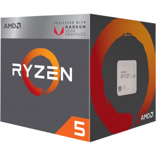 AMD Ryzen 5 2400G CPU with Wraith Cooler, AM4, 3.6GHz, Quad Core, 65W, 6MN Cache, 14nm, VEGA 11 Graphics