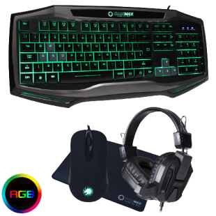 Brand New Game Max Raptor Gaming USB/RGB LED Keyboard/Mouse/Mat and Headset Bundle Set
