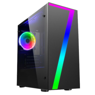 Spire Seven Micro ATX Gaming Case with Window, No PSU, RGB Fan & Front Strip with Control Button, Acrylic Side Panel
