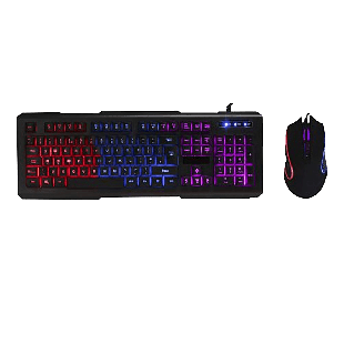 Spire Avenger Illuminated Gaming Desktop Kit, 3-Colour LED Backlit Keyboard, 1600/2400/3200 DPI Mouse