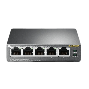 TP-Link (TL-SF1005P) 5-Port 10/100 Unmanaged Desktop Switch, 4 Port PoE, Steel Case