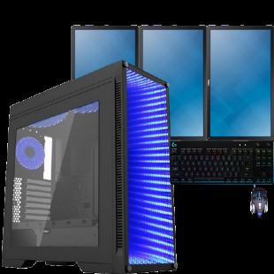 CK- Refurb Fast Gaming PC bundle/ Triple Monitor 22-Inch/ Quad i5 3rd Gen/ GTX-1650 4GB/ 8GB RAM/ 240GB SSD+500GB HDD/ Windows 10