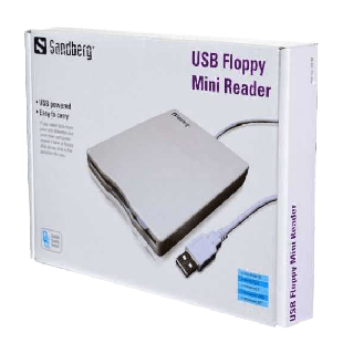 "Sandberg External USB 3.5"" Floppy Drive, White/Grey, 0.5 Metre Cable"