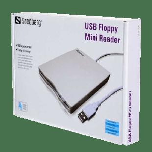 "Sandberg External USB 3.5"" Floppy Drive, White/Grey, 0.5 Metre Cable"
