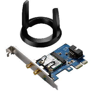 Asus (PCE-AC55BT) AC1200 (300+867) Wireless Dual Band PCI Express Adapter, Bluetooth 4.0, Ext Antenna Base