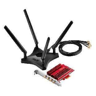 Asus (PCE-AC88) AC3100 (1000 + 2167) Wireless Dual Band PCI-Express Adapter, 4 Antennas, External Base
