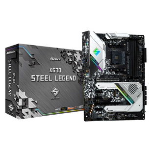 Asrock X570 STEEL LEGEND, AMD X570, AM4, ATX, 4 DDR4, HDMI, DP, XFire, RGB Lighting, PCIe4, Rock-Solid Durability